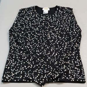 Small Talbots button down sweater black tan and wh